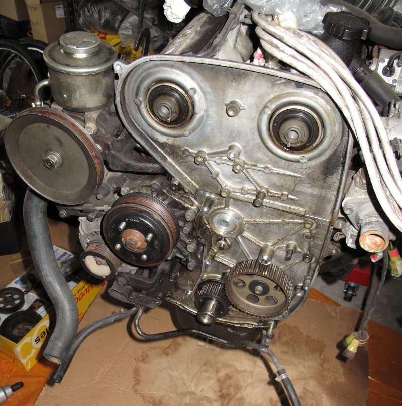 Engine timing cover removed